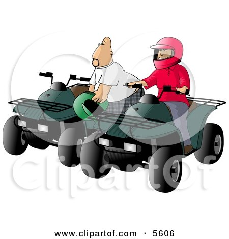 Father and Son, Man and Boy, Riding ATV Four Wheelers Posters, Art Prints