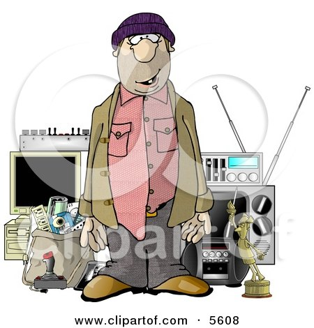Male Robber Standing in Front of Stolen Items Clipart Illustration by djart