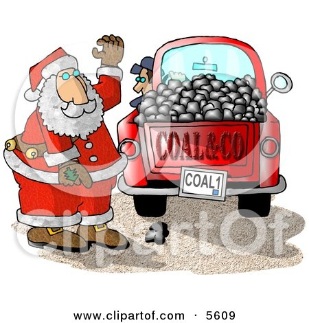 Santa Claus With a Truck of Coal Ready for Delivery to Bad Boys and Girls on Christmas Posters, Art Prints
