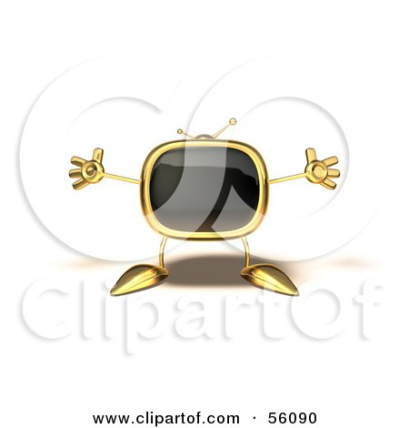 Royalty-Free (RF) Clipart Illustration of a 3d Golden Television Character Holding His Arms Open - Version 5 by Julos
