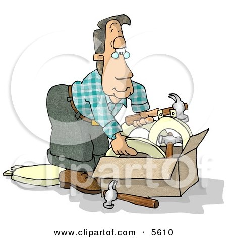 Man With a Box of Hammers and Toilet Seats Clipart Illustration by djart