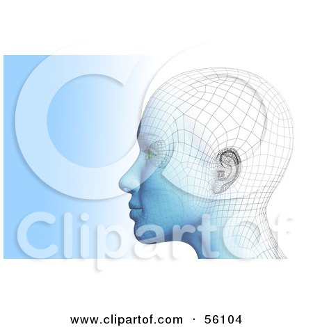 Royalty-Free (RF) Clipart Illustration of a Futuristic Wire Frame Female Head Looking Left - Version 1 by Julos