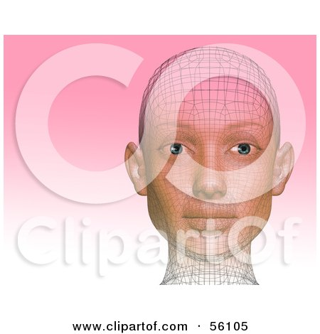 Royalty-Free (RF) Clipart Illustration of a Futuristic Wire Frame Female Head Looking Forward - Version 2 by Julos