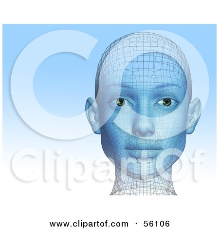 Royalty-Free (RF) Clipart Illustration of a Futuristic Wire Frame Female Head Looking Forward - Version 1 by Julos
