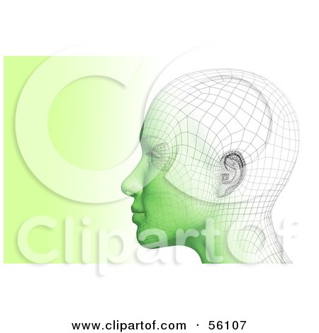 Royalty-Free (RF) Clipart Illustration of a Futuristic Wire Frame Female Head Looking Left - Version 2 by Julos