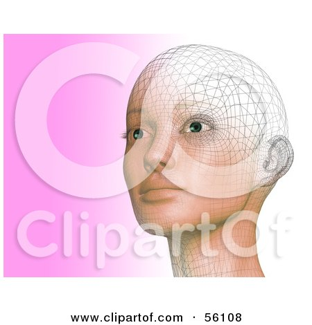 Royalty-Free (RF) Clipart Illustration of a Futuristic Wire Frame Female Head Looking Up And Left - Version 2 by Julos