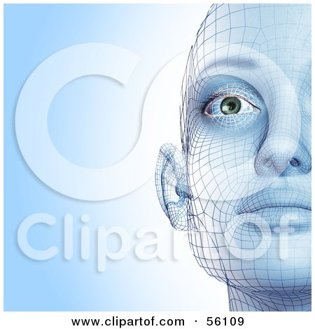 Royalty-Free (RF) Clipart Illustration of a Half Of A Futuristic Wire Frame Female Head Facing Front - Version 1 by Julos