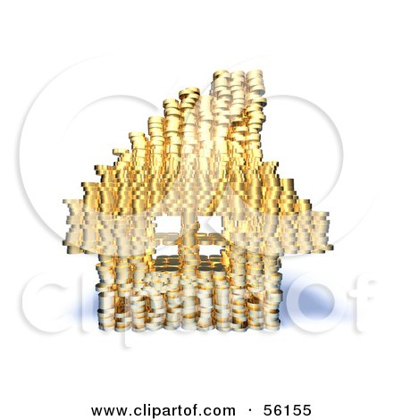 Royalty-Free (RF) Clipart Illustration of a 3d House Made Of Golden Coin Stacks - Version 5 by Julos