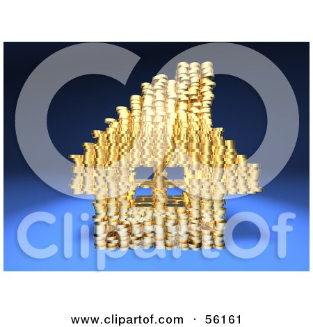 Royalty-Free (RF) Clipart Illustration of a 3d House Made Of Golden Coin Stacks - Version 1 by Julos