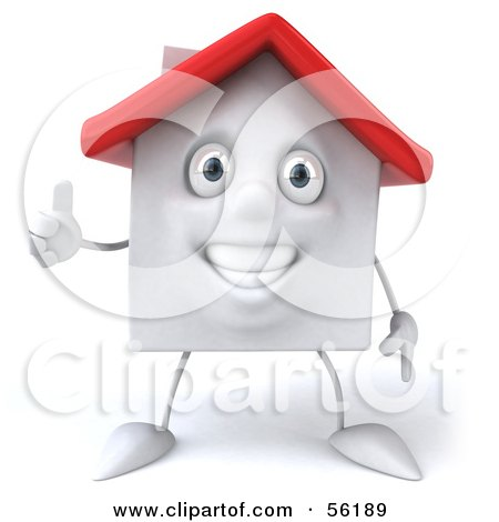 Royalty-Free (RF) Clipart Illustration of a 3d White Clay Home Character Giving The Thumbs Up - Version 2 by Julos