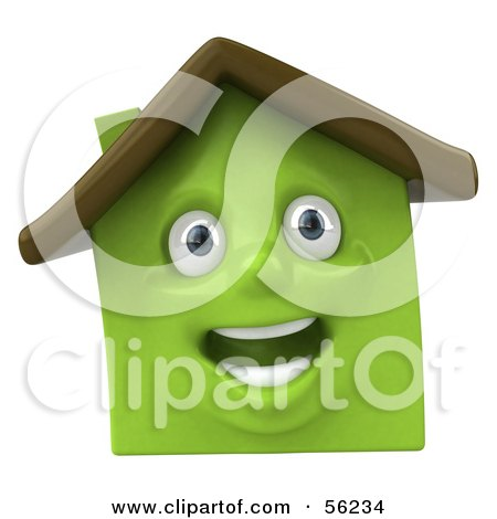 Royalty-Free (RF) Clipart Illustration of a 3d Green Clay Home Character Smiling - Version 3 by Julos
