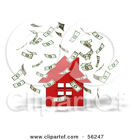 Royalty-Free (RF) Clipart Illustration of Money Falling Down Around A 3d Red House - Version 1 by Julos