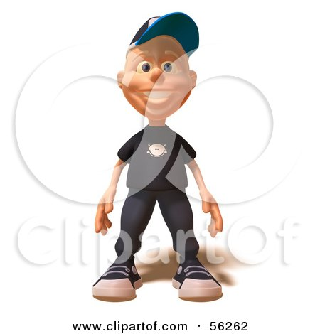 Royalty-Free (RF) Clipart Illustration of a 3d White Male Kid Facing Front by Julos