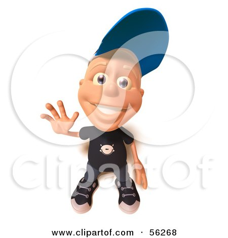 Royalty-Free (RF) Clipart Illustration of a 3d White Male Kid Waving- Version 1 by Julos
