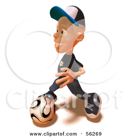 Royalty-Free (RF) Clipart Illustration of a 3d White Male Kid Playing Soccer - Version 2 by Julos