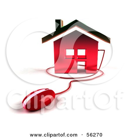 Royalty-Free (RF) Clipart Illustration of a 3d Home Icon With A Computer Mouse - Version 5 by Julos