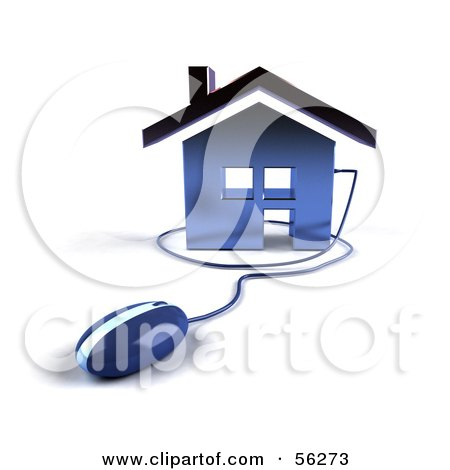 Royalty-Free (RF) Clipart Illustration of a 3d Home Icon With A Computer Mouse - Version 4 by Julos