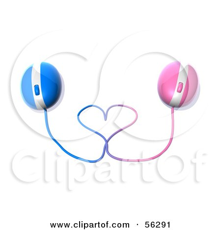 Royalty-Free (RF) Clipart Illustration of 3d Pink And Blue Computer Mice With Their Cables Forming A Heart - Version 1 by Julos