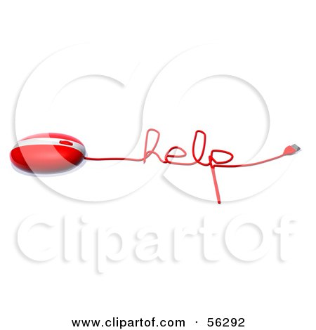 Royalty-Free (RF) Clipart Illustration of a 3d Red Computer Mouse With The Cable Reading HELP - Version 1 by Julos