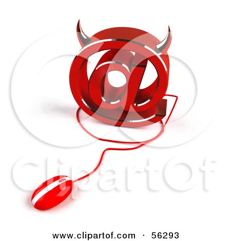 Royalty-Free (RF) Clipart Illustration of a 3d Devil Arobase At Symbol With A Red Computer Mouse - Version 2 by Julos