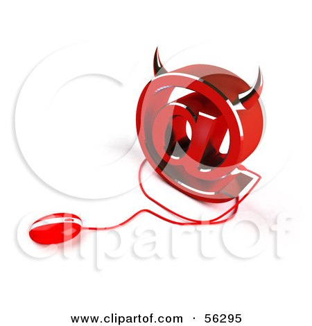 Royalty-Free (RF) Clipart Illustration of a 3d Devil Arobase At Symbol With A Red Computer Mouse - Version 3 by Julos