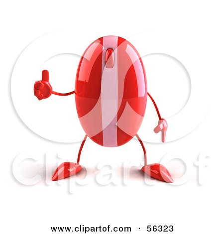 Royalty-Free (RF) Clipart Illustration of a 3d Red Computer Mouse Character Giving The Thumbs Up by Julos