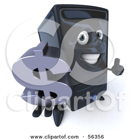 Royalty-Free (RF) Clipart Illustration of a 3d Computer Tower Character Smiling And Holding A Dollar Symbol - Version 1 by Julos