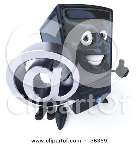 Royalty-Free (RF) Clipart Illustration of a 3d Computer Tower Character Holding An Arobase At Symbol - Version 1 by Julos
