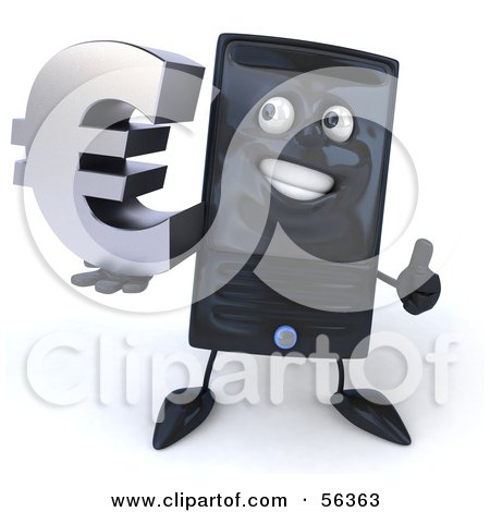 Royalty-Free (RF) Clipart Illustration of a 3d Computer Tower Character Smiling And Holding A Euro Symbol - Version 2 by Julos