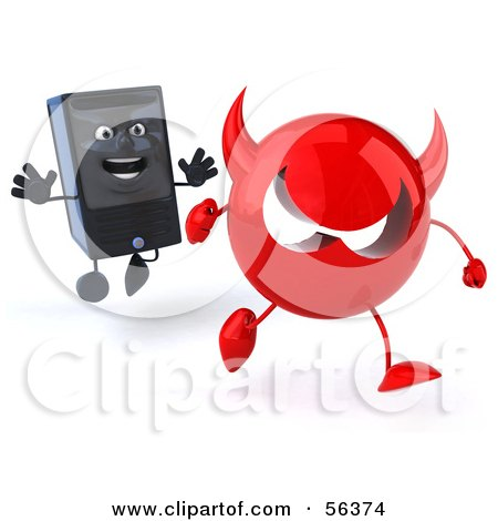 Royalty-Free (RF) Clipart Illustration of a 3d Computer Tower Character Chasing Away A Red Devil Virus - Version 1 by Julos