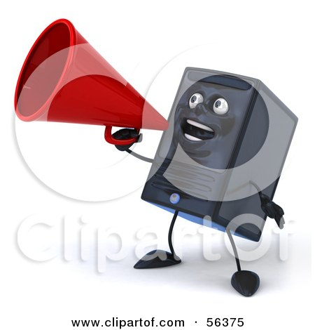 Royalty-Free (RF) Clipart Illustration of a 3d Computer Tower Character Using A Megaphone - Version 3 by Julos
