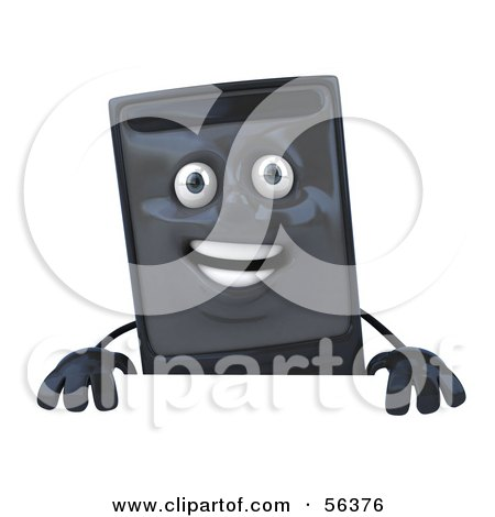 Royalty-Free (RF) Clipart Illustration of a 3d Computer Tower Character Standing Behind A Blank Sign by Julos