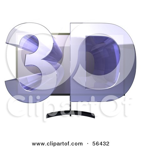 Royalty-Free (RF) Clipart Illustration of a Flat Screen Plasma Television With 3d Emerging From The Screen - Version 1 by Julos