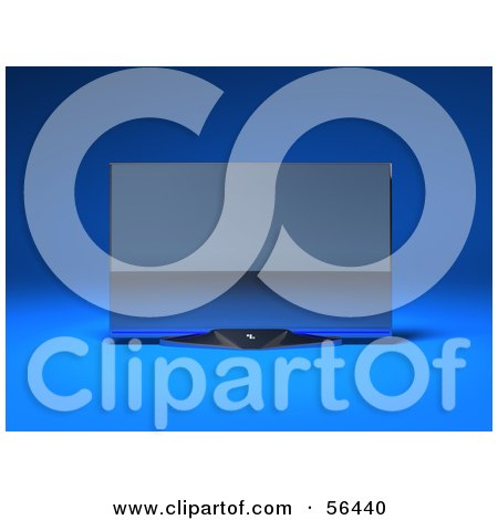 Royalty-Free (RF) Clipart Illustration of a Slim, Flat Screen 3d Plasma Television Screen On A Mount - Version 5 by Julos
