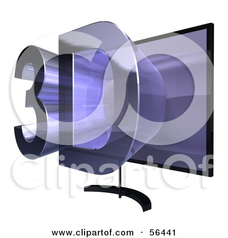 Royalty-Free (RF) Clipart Illustration of a Flat Screen Plasma Television With 3d Emerging From The Screen - Version 2 by Julos