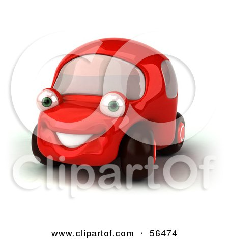 Royalty-Free (RF) Clipart Illustration of a 3d Red Car Character Facing Left And Smiling - Version 1 by Julos