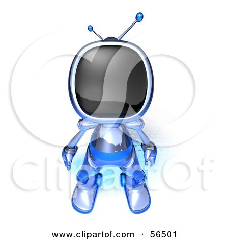 Royalty-Free (RF) Clipart Illustration of a 3d Tele Robot Character Standing And Facing Front - Version 3 by Julos