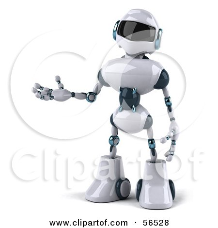 Royalty-Free (RF) Clipart Illustration of a 3d Techno Robot Character Gesturing To The Left - Version 1 by Julos