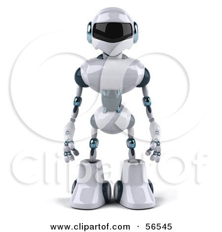 Royalty-Free (RF) Clipart Illustration of a 3d Techno Robot Character Standing And Facing Front by Julos
