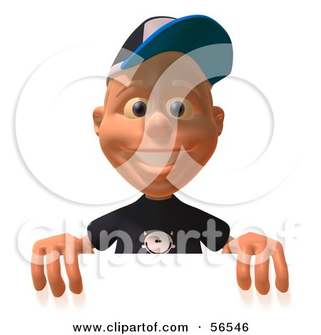 Royalty-Free (RF) Clipart Illustration of a 3d White Male Kid Standing Behind A Blank Sign by Julos