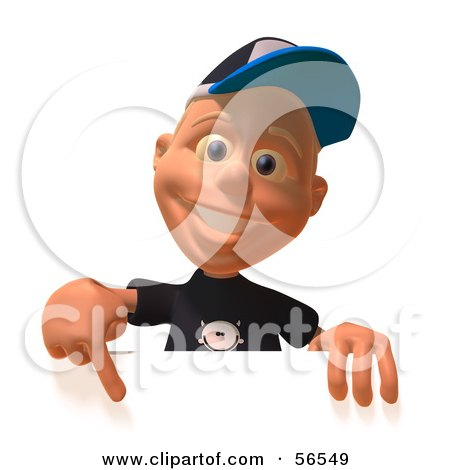 Royalty-Free (RF) Clipart Illustration of a 3d White Male Kid Pointing Down And Standing Behind A Blank Sign by Julos