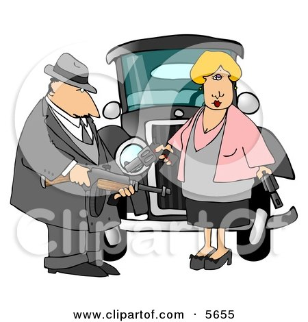 Notorious Outlaws Know as Bonnie Parker and Clyde Barrow Clipart Illustration by djart