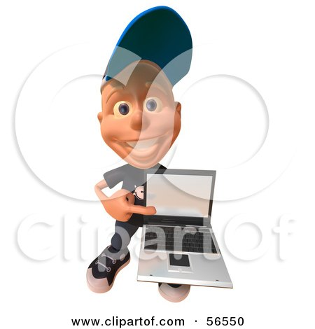 Royalty-Free (RF) Clipart Illustration of a 3d White Male Kid Holding A Laptop - Version 3 by Julos