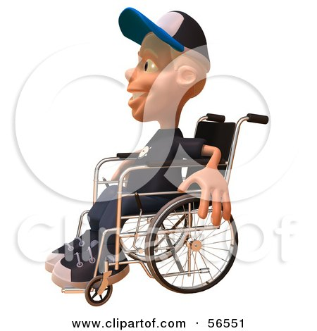 Royalty-Free (RF) Clipart Illustration of a 3d White Male Kid In A Wheelchair - Version 2 by Julos