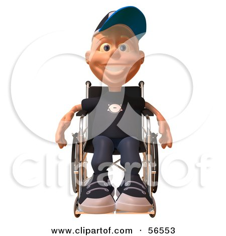 Royalty-Free (RF) Clipart Illustration of a 3d White Male Kid In A Wheelchair - Version 1 by Julos