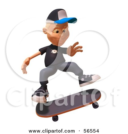 Royalty-Free (RF) Clipart Illustration of a 3d White Male Kid Skateboarding - Version 1 by Julos