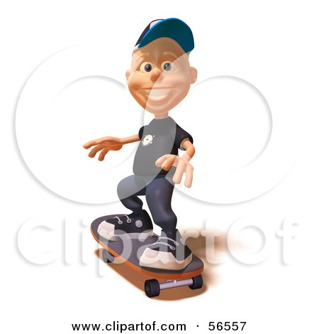 Royalty-Free (RF) Clipart Illustration of a 3d White Male Kid Skateboarding - Version 2 by Julos