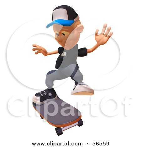 Royalty-Free (RF) Clipart Illustration of a 3d White Male Kid Skateboarding - Version 5 by Julos