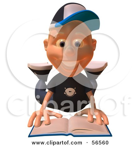 Royalty-Free (RF) Clipart Illustration of a 3d White Male Kid Reading On His Belly by Julos