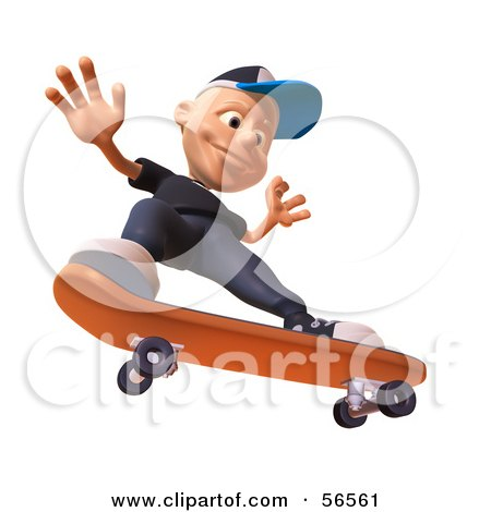 Royalty-Free (RF) Clipart Illustration of a 3d White Male Kid Skateboarding - Version 4 by Julos